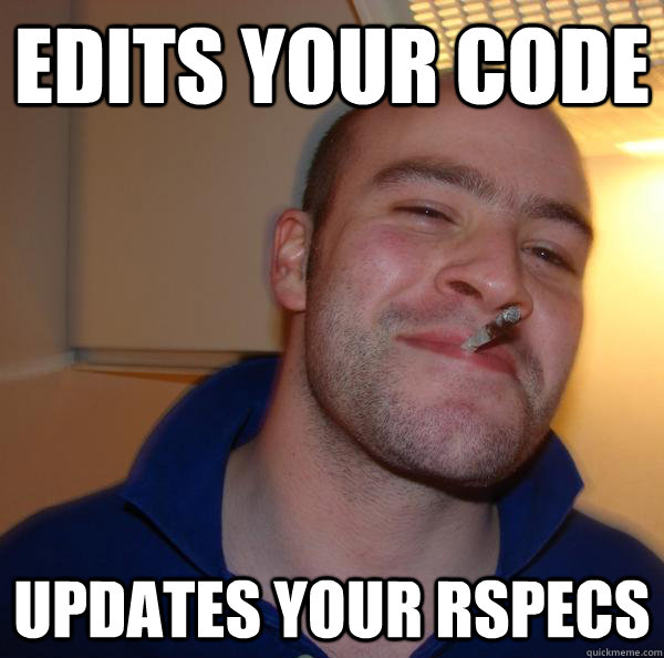 Edits your code, updates your Rspecs